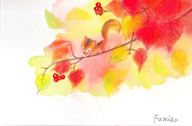 パステル画(深まる秋)