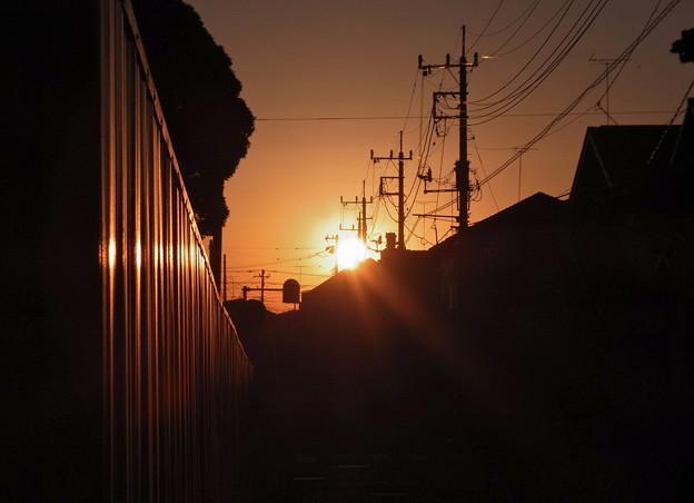写真: 夜明けの町