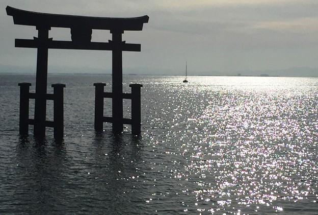 写真: 湖上の大鳥居:白鬚神社13