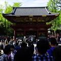 写真: 神橋から長い列(w)