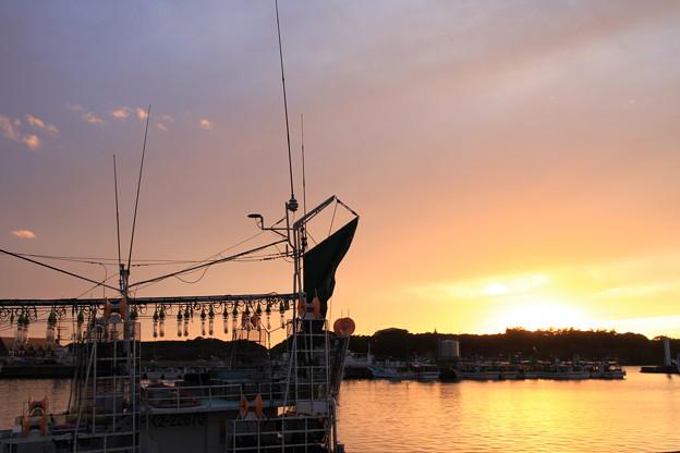 写真: 2326 出航を待つ江差のイカ釣り船@北海道