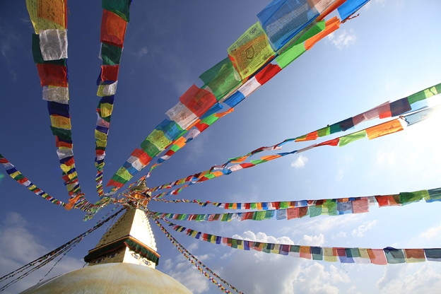 写真: 2360 タルチョーはためく巨大仏塔@ネパール