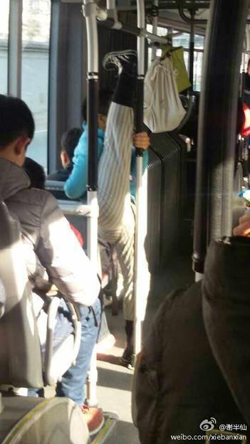 バスでもストレッチ
