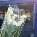 写真: 献花。