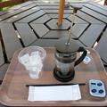 写真: 桜の下でアイスコーヒー