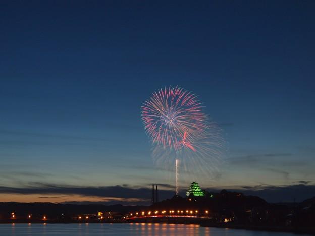 写真: 夕暮れどきの花火