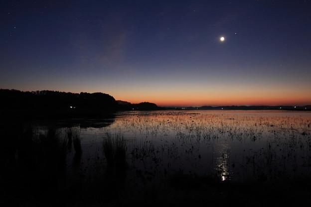 氷結の朝に:月とスピカの接近
