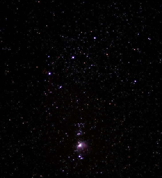 オリオン座の三ツ星とM42星雲