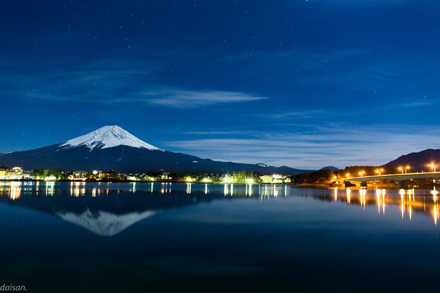 河口湖の逆さ富士と河口湖大橋
