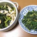 折り菜の煮浸し 春菊の胡麻和え