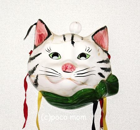 ドイツ製の陶器の猫面