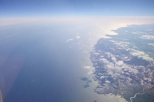 機窓から見る八戸市付近