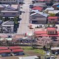 写真: 桜咲く駅で
