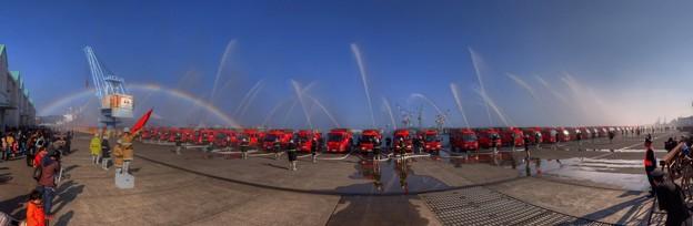 Photos: 2015年1月4日 消防出初式 一斉放水 パノラマ写真 HDR