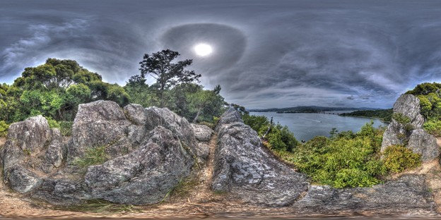 舘山寺温泉 舘山 富士見岩から望む浜名湖 360度パノラマ写真 HDR