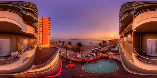 浜松市 弁天島の旅館より見る浜名湖河口部の眺望 360度パノラマ写真