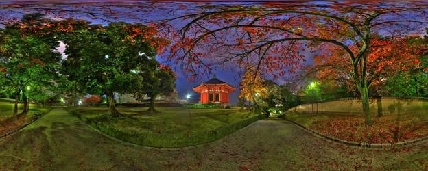 興福寺南円堂裏 夜景 360度パノラマ写真