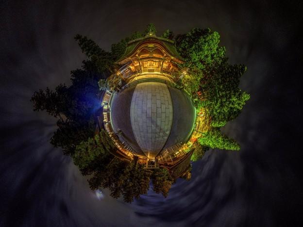 森町 小国神社 夜景 Little Planet