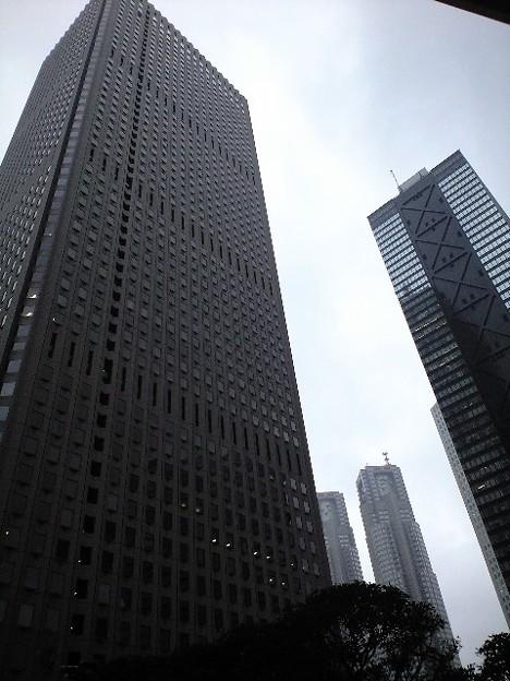 雨空と高層ビル