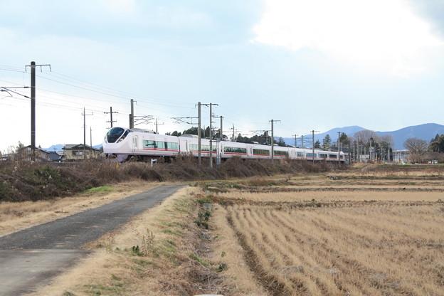 冬の田園風景を行くE657系 (1)
