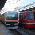 写真: E231系1000番台と伊豆急行2100系の並び
