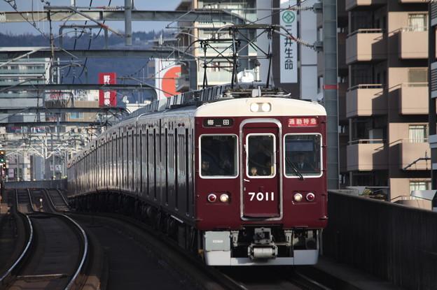 阪急宝塚線 7000系7011F 通勤特急 阪急梅田 行