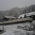 お寺の石垣にうっすら雪化粧されているのが渋い