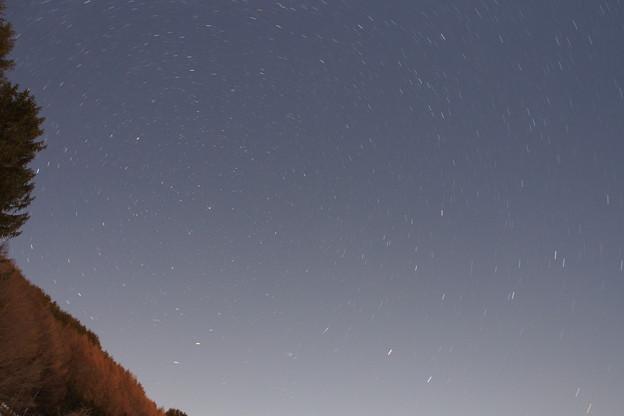 地球の自転の関係で星もまわって見えます