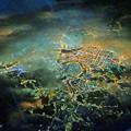 機窓からの夜の街