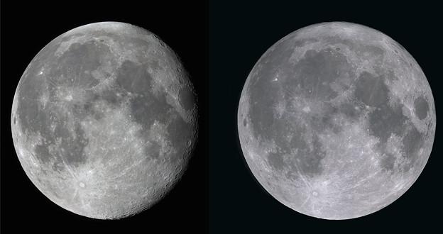 月の秤動 (交差法で立体視可能)