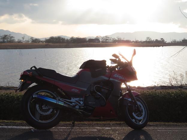 冬の夕日、記念撮影