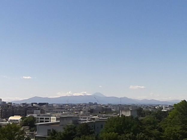 台風一過、爽やかな秋空、富士山見える。て、窓開けたら「ばーん!」て風に持ってかれた。