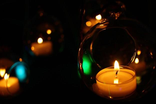 写真: 光のガラス玉