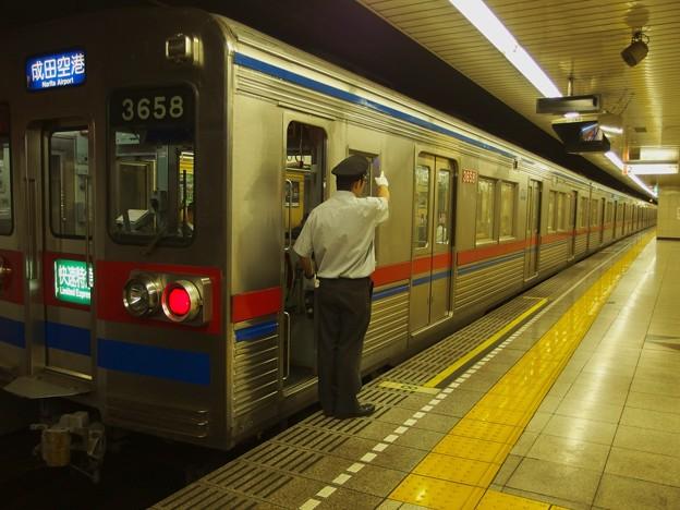 都営浅草線戸越駅2番線 京成3658F快速特急成田空港行き側面よし