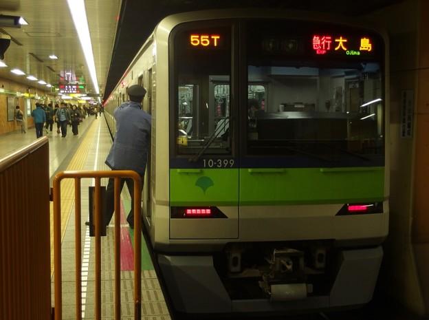都営新宿線神保町駅2番線 都営10-390F急行大島行き側面よし