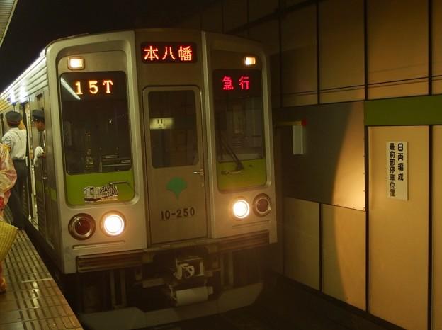 都営新宿線篠崎駅2番線 都営10-250F急行本八幡行き客終合図
