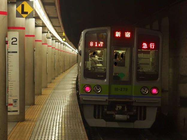 京王新線幡ヶ谷駅2番線 都営10-270F急行新線新宿行き前方確認