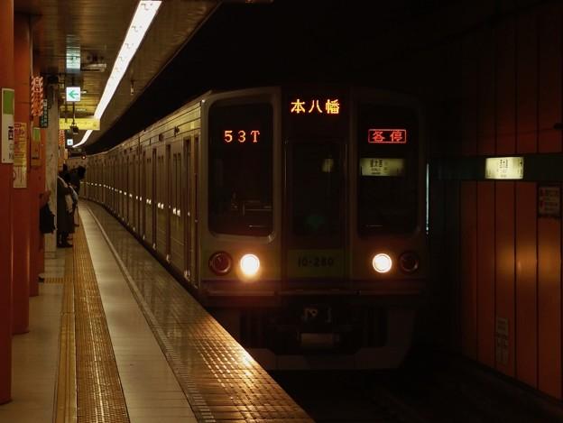 都営新宿線西大島駅2番線 都営10-280F各停本八幡行き進入
