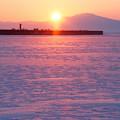 網走港の日の出