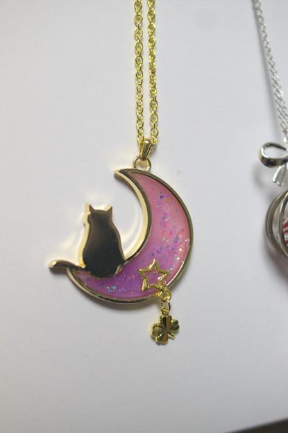 こちらも同じくPetit bonheurさんで購入した、月と猫のネックレス。月のレジンの部分がきらきら光って可愛い(*´∀`)