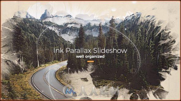完美史诗水墨散开照片展示幻灯片相册动画AE模板Videohive Ink Slideshow