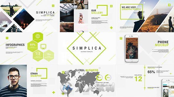 现代简洁的公司商务展示幻灯片企业宣传AE模板Videohive Simplica Business Template