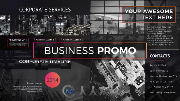 现代时尚完美优雅的商业推广视频包装AE模板Videohive Business Promo