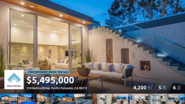 现代房屋照片信息展示幻灯片房地产宣传AE模板Videohive Realtor Pro - Real Estate Slideshow