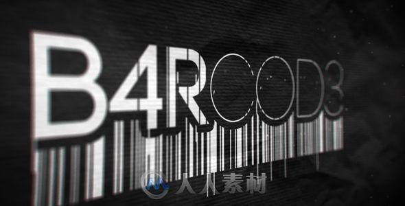 震撼炫酷现代数字条形码展示幻灯片AE模板Videohives Barcode Reveal Barcode Reveal