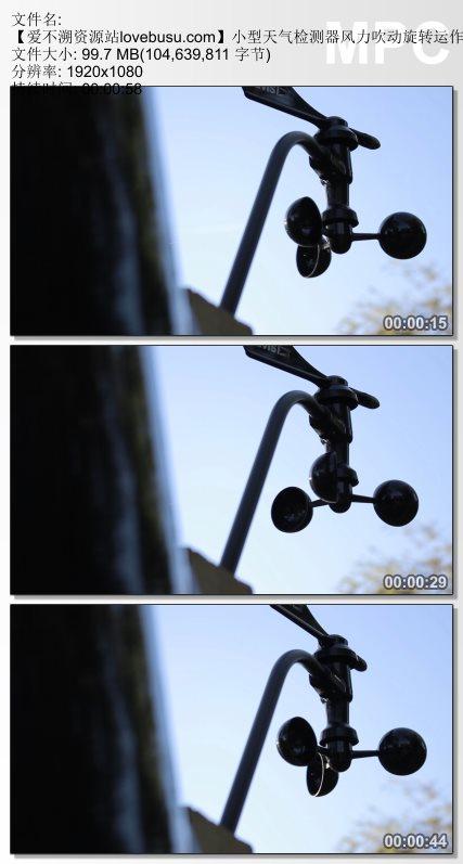 小型天气检测器风力吹动旋转运作特写镜头高清视频实拍