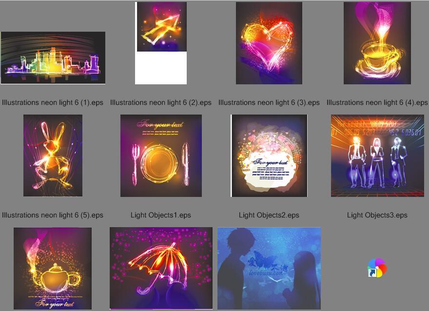 炫丽霓虹效果元素背景矢量素材