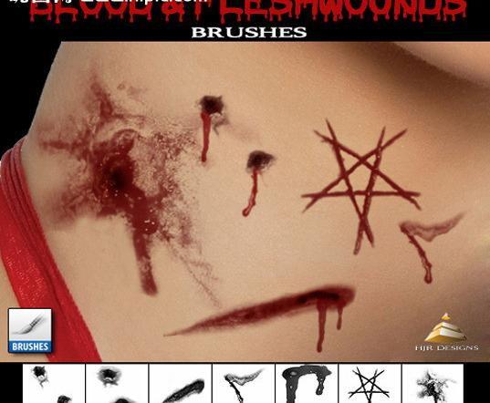 Photoshop重口味皮肤撕裂伤痕特效笔刷