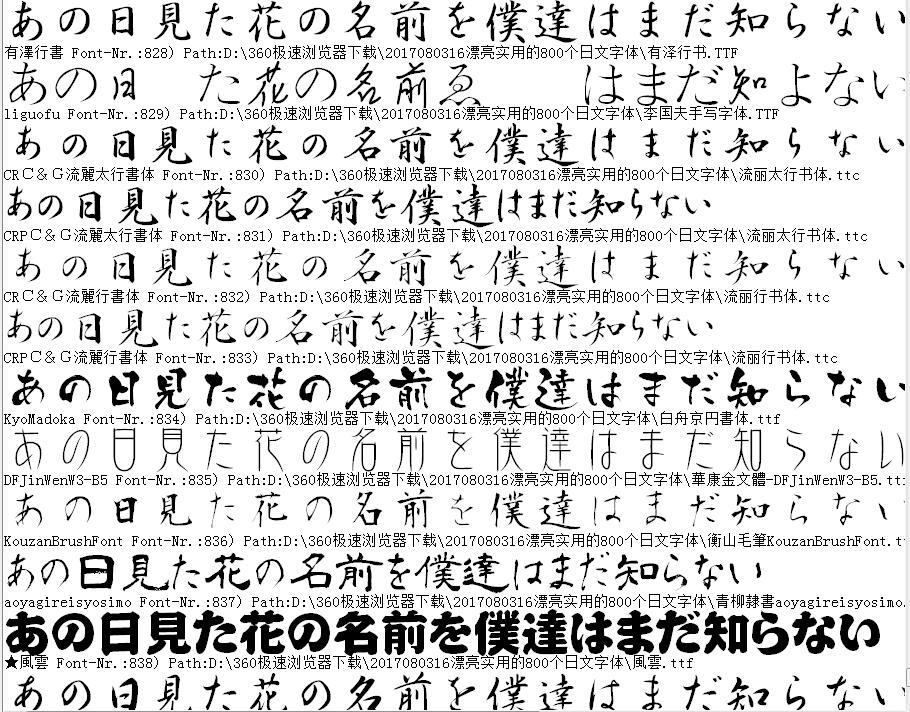 漂亮实用的800个日文字体