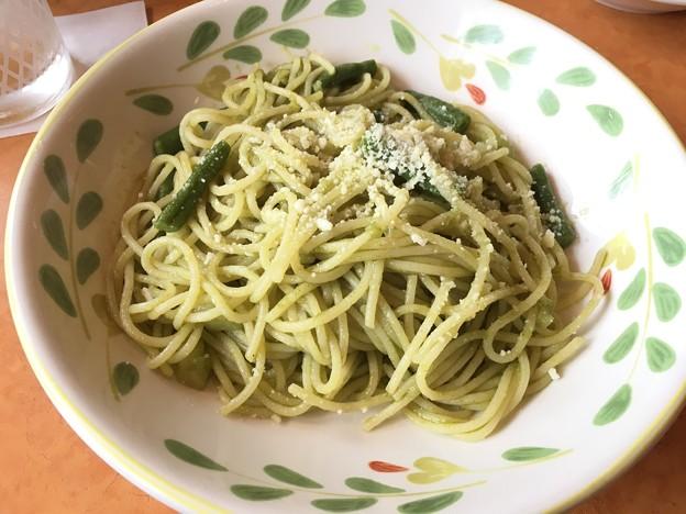 インゲンとじゃがいものグリーンソーススパゲッティ